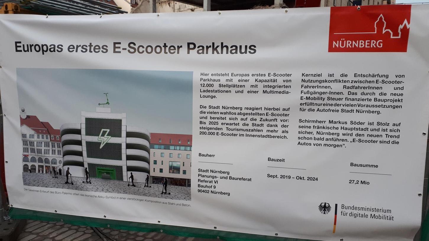 Das Parkhaus, das dieses zwischenzeitlich entfernte Transparent ankündigt, entpuppte sich als Nullnummer, von der weder der Bauherr noch die Stadt etwas wussten.