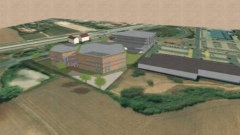 Die Zeichnung zeigt die beiden geplanten Boulderhallen, dahinter das Parkhaus und rechts der bestehende Rewe-Supermarkt.