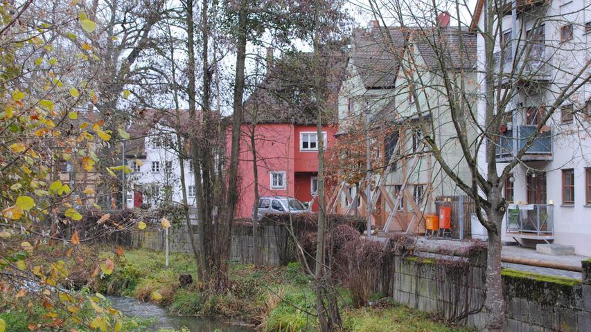 Blickt man von der Spitalbrücke in Richtung Wöhrwiese, dann sieht man ein Haus (in grün), auch unter Denkmalschutz stehend, das eine private Immobilienfirma renovieren will.