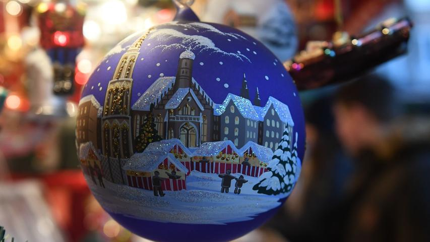 Christmas balls are displayed for sale at the traditional Christmas Market in Nuremberg, southern Germany, on November 29, 2019. - The traditional