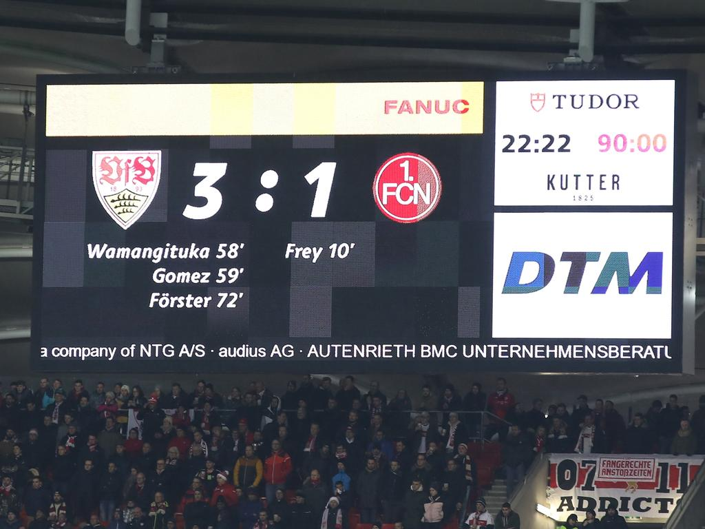 09.12.2019 --- Fussball --- Saison 2019 2020 --- 2. Fussball - Bundesliga --- 16. Spieltag: VfB Stuttgart - 1. FC Nürnberg Nuernberg FCN ( Club ) --- Foto: Sport-/Pressefoto Wolfgang Zink / DaMa --- ..DFL regulations prohibit any use of photographs as image sequences and/or quasi-video ---......Anzeigentafel mit Endstand 3:1 für den VfB