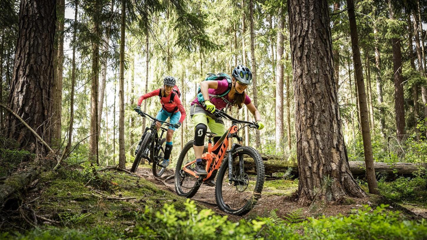 Über Stock und Stein, aber mit Rücksicht auf Pflanzen, Tiere und andere Waldliebhaber radelt die Zirndorfer Verbandssprecherin Anja Miksch (hinten) zusammen mit einer Sportsfreundin durch den Wald.