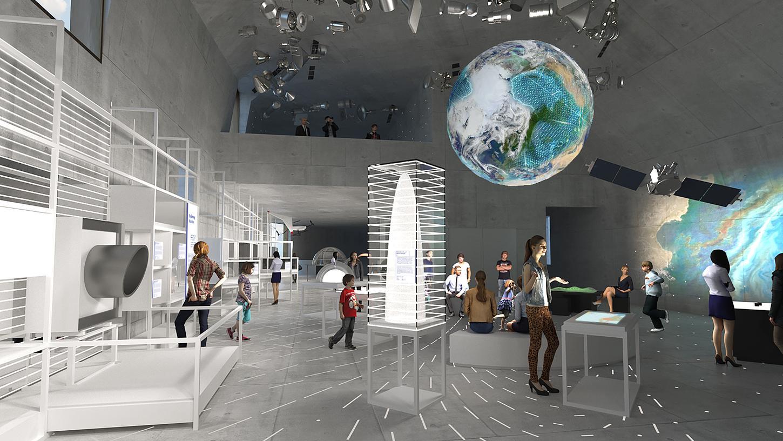 Ein Ausstellungsbereich zeigt, wie viele Satellitten heute schon um die Erde kreisen.
