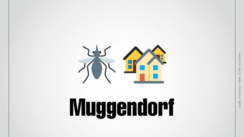 Eine Mücke und wenige Häuser: Das ist Muggendorf.