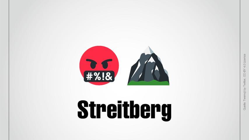 Streitberg: Streit dargestellt als Emoji und ein Berg.