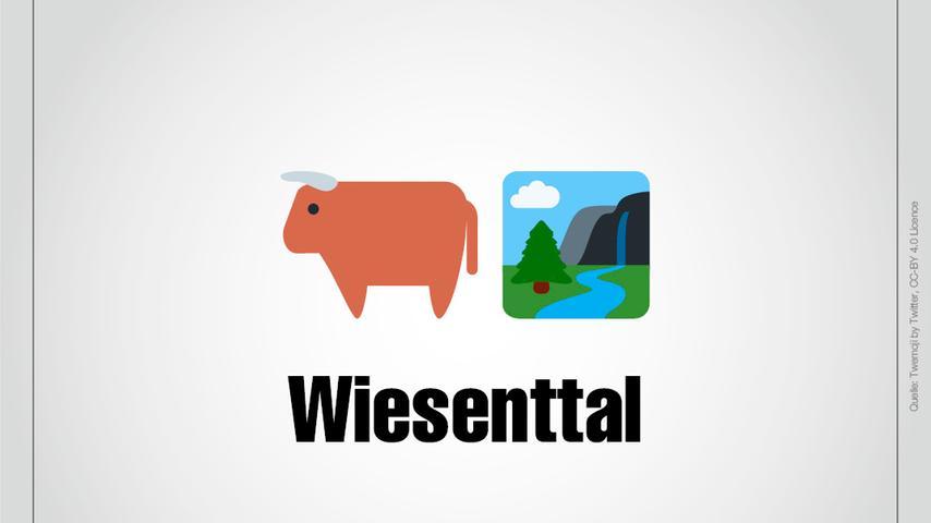 Wiesenttal: Das Wisent schreibt sich zwar ohne ie, aber lautmalerisch besteht Wiesenttal aus einem Wisent und einem Tal.