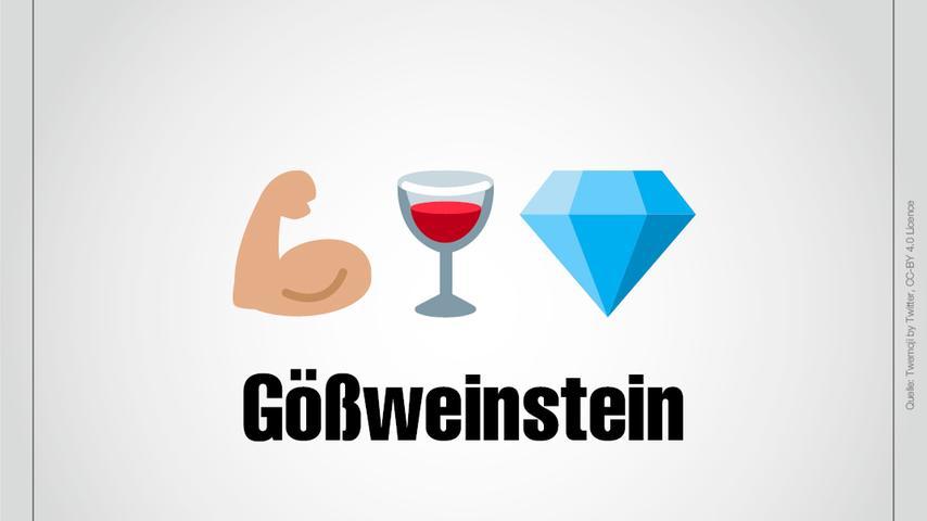 Ein Ellenbogen? Ein Weinglas und ein Stein? Göss ist ein altes Längenmaß, das der Größe der Elle entsprach. Zusammen mit Wein und Stein ist das Gößweinstein.
