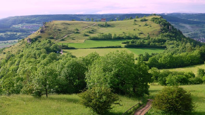 Blick auf das Walberla (Fränkische Schweiz) im Jahr 2016 mit grünen Wiesen und Bäumen..Foto: Norbert Haselbauer