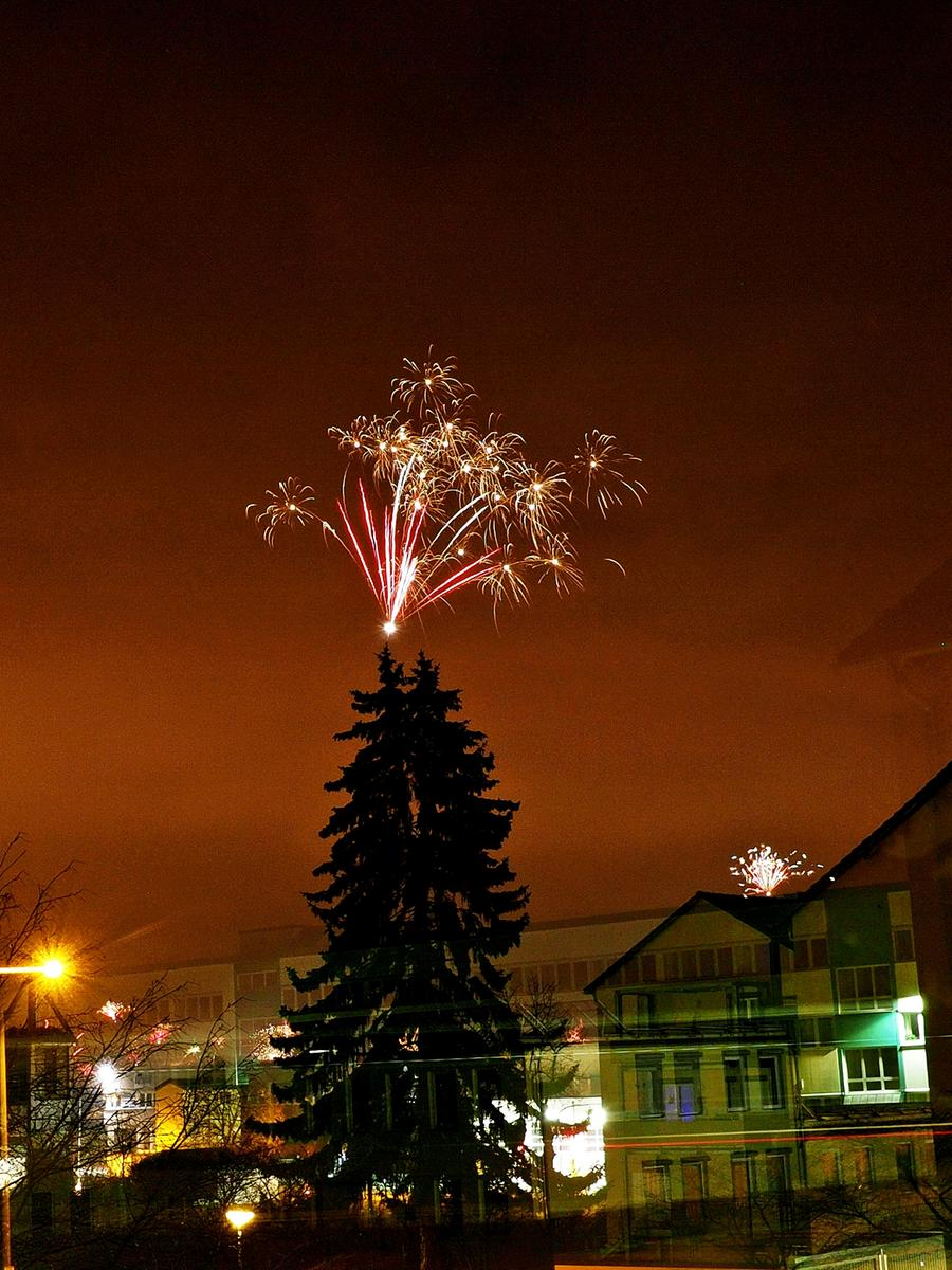 In Fürth-Sack feiern selbst die Bäume den Jahreswechsel.