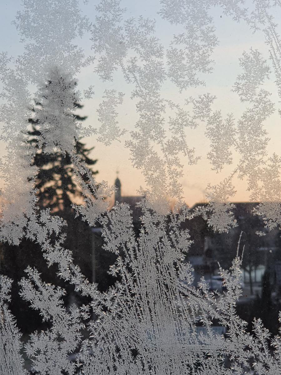 Gremsdorf frostig eingerahmt mit Eisblumen: Schöne Stimmung am frühen Morgen!