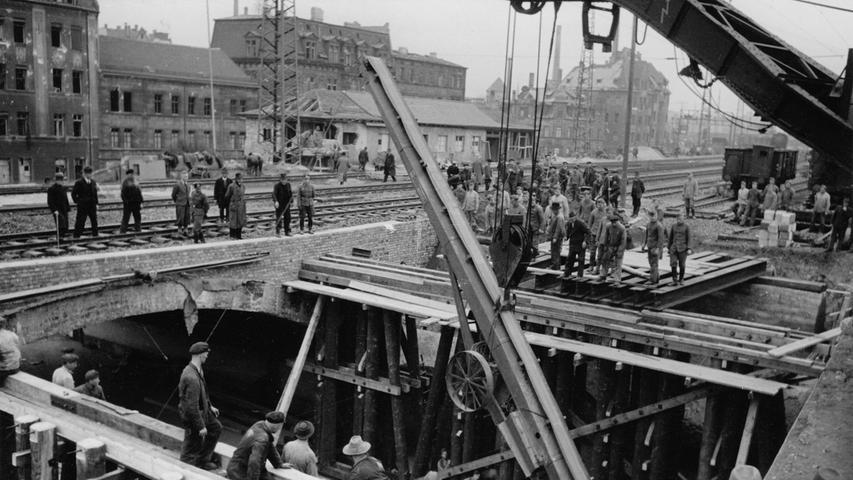 Großbaustelle am Marientunnel neben dem Hauptbahnhof: Die Kriegsschäden wurden beseitigt.