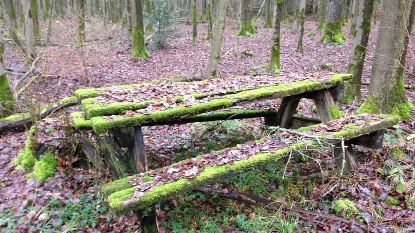 Nicht sehr einladend und wohl auch schon lange nicht mehr benutzt: eine Picknicksitzgruppe mit grüner