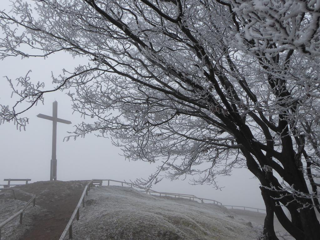 Das Kreuz im Nebel und Frost.