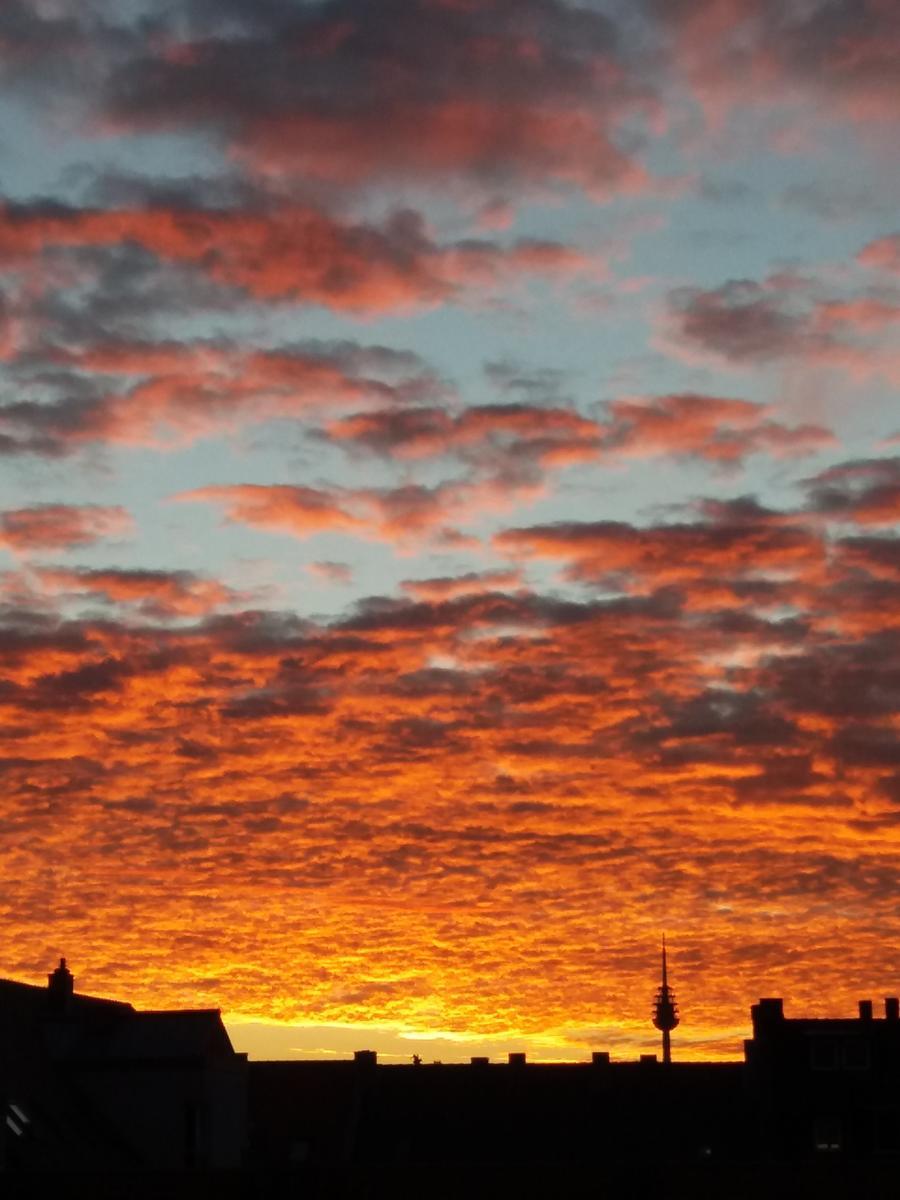 Vor dem glühenden Himmel kommt die Nürnberger Silhouette samt Fernsehturm besonders gut zur Geltung.