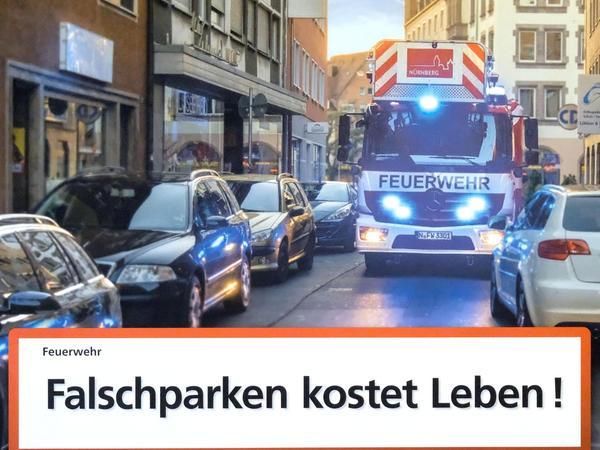"""Im Oktober 2018 startete die Berufsfeuerwehr Nürnberg die Kampagne """"Falschparken kostet Leben!"""""""