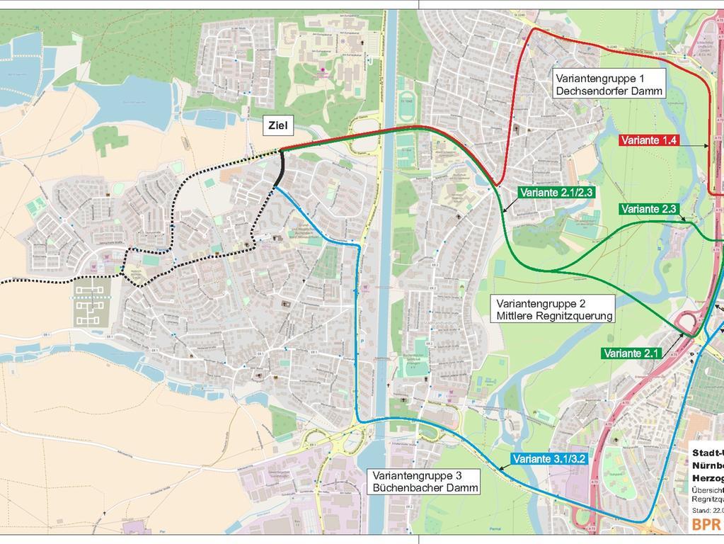 Kartengrundlage: openstreetmap.org © OSM-Mitwirkende..Motiv: STUB - Stadt-Umland-Bahn Nürnberg – Erlangen –..Herzogenaurach - Übersichtskarte Stufe 2..Regnitzquerung - Stand: 22.01.2019