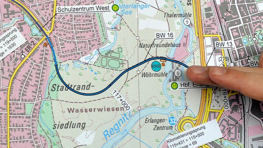 Erlangen: Die bisherige Vorzugstrasse der StUB sieht eine neue Querung des Wiesengrunds vor. In der neuesten Version werden dieser Trasse durch den Regnitzgrund auch die Jedermann-Sportplätze zwischen Minigolfplatz und DJK zum Opfer fallen.