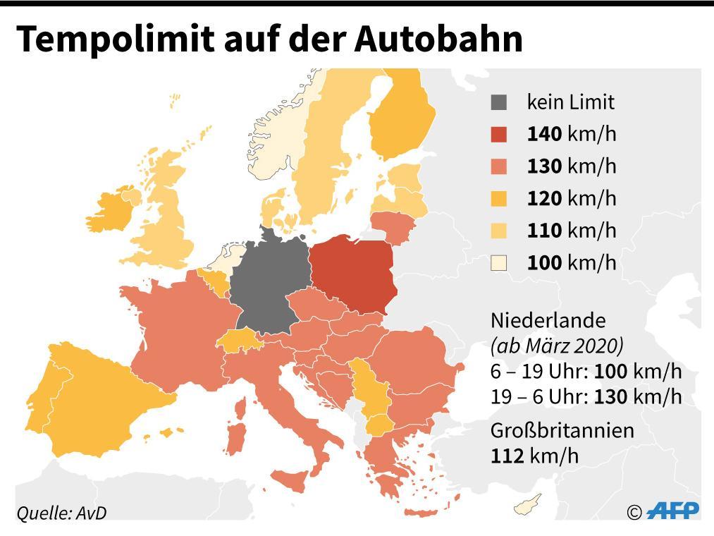 Karte mit Tempolimits auf Autobahnen in Europa. - AFP / AFP
