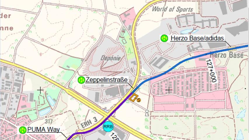 Die Übersicht über den Trassenverlauf auf der Herzo Base. Durch die Feinplanung im Vorfeld des Planfeststellungsverfahren können sich noch kleinere Änderungen ergeben.