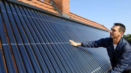 Solaranlage auf dem Hausdach.