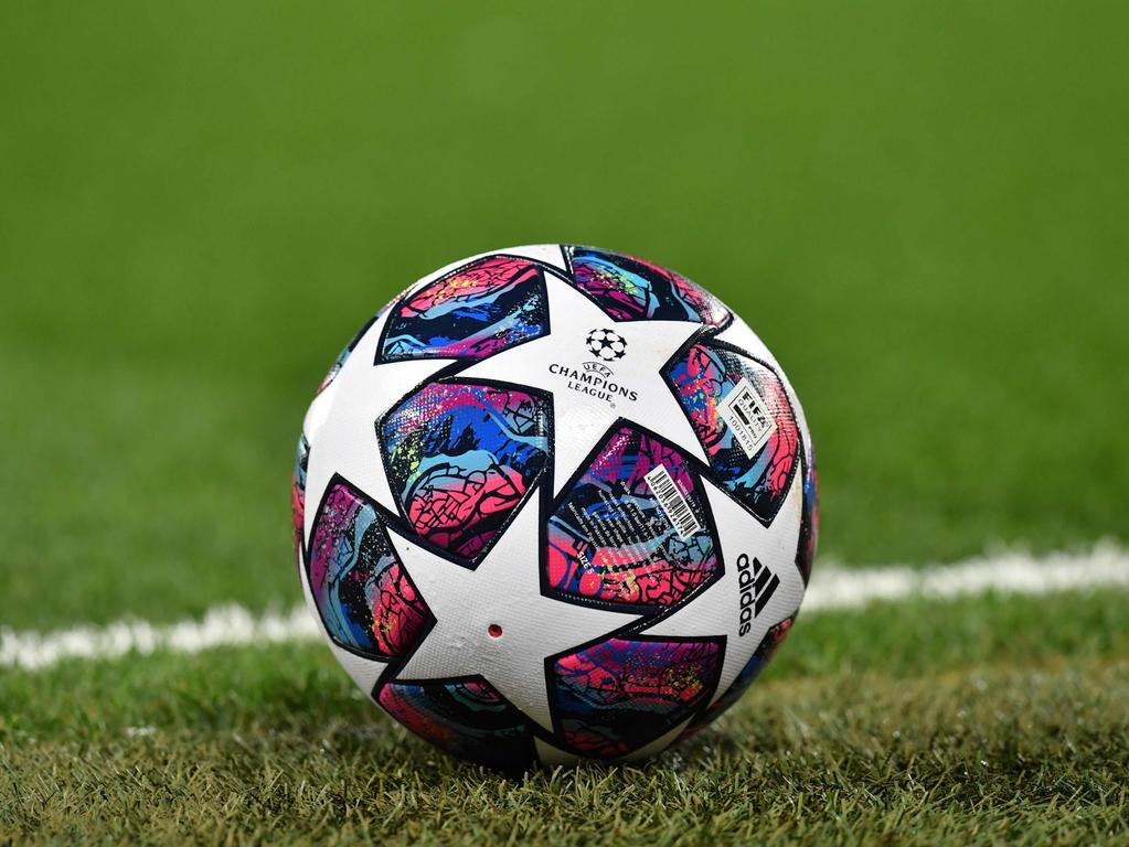 A Champions League football is pictured before the UEFA Champions league Round of 16 second leg football match between Liverpool and Atletico Madrid at Anfield in Liverpool, north west England on March 11, 2020. (Photo by Paul ELLIS / AFP)