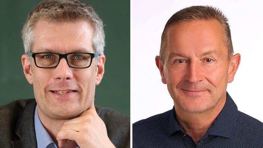 Amtsinhaber Uwe Kirschstein (SPD, links) ging als Favorit in die Stichwahl in Forchheim gegen Udo Schönfelder (CSU). Er gewann die Wahl dann auch endgültig am Montag. Hier geht es zum kompletten Artikel.