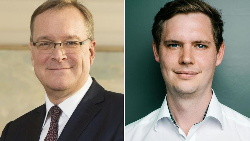 Junge Konkurrenz für den langjährigen Bamberger Oberbürgermeister: Andreas Starke (SPD, links) sah sich in der Stichwahl Jonas Glüsenkamp von den Grünen gegenüber. Der amtierende Bürgermeister machte das Rennen letztlich aber erneut. Hier geht es zum kompletten Artikel.