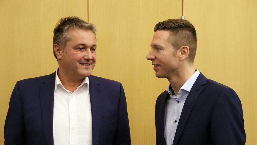 Ein Krimi wurde die Stichwahl um den Landratsposten im Kreis Bayreuth: Klaus Bauer (CSU, links) unterlag am Ende hauchdünn Florian Wiedemann (Freie Wählergemeinschaft). Bauer kam auf 49,1, Prozent der Stimmen, Wiedemann auf 50,9 Prozent.