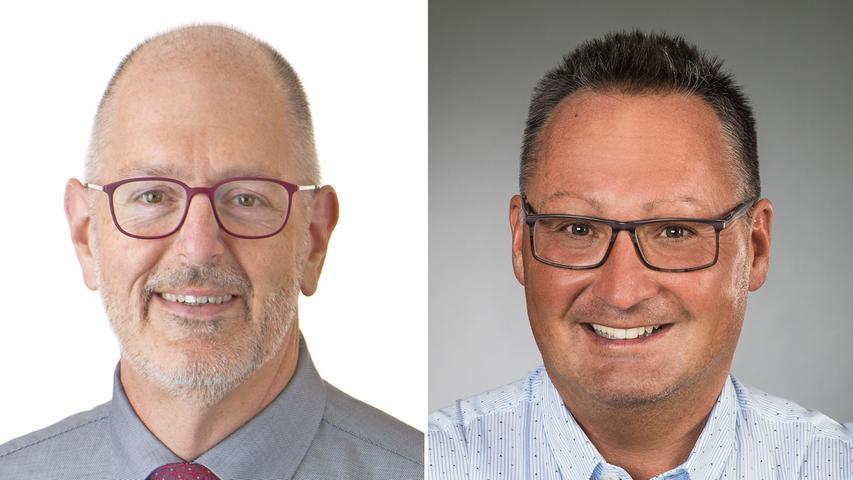 In Zirndorf war die Entscheidung knapp: Bürgermeister Thomas Zwingel (SPD, 51,1%, links) verteidigte seinen Posten gegen Herausforderer Bernd Klaski (CSU, 48,9%) mit gerade mal 279 Stimmen Vorsprung. Hier geht es zum kompletten Artikel.