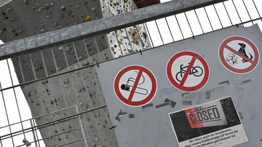 Die Geschäftsstelle und das Kletterzentrum der DAV Sektion Erlangen bleiben geschlossen. Hier, wo sich sonst zahlreiche Sportler tummeln, ist nun nichts los.