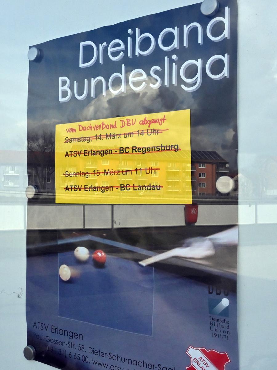 Keine Kugeln rollen: Die Deutsche Billardunion hat den gesamten Spielbetrieb bis auf unbestimmte Zeit abgesagt. Das trifft auch die Teams des ATSV Erlangen, die erste Mannschaft spiel in der zweiten Liga. Der Verein hat zudem die geplante Jahreshauptversammlung abgesagt.