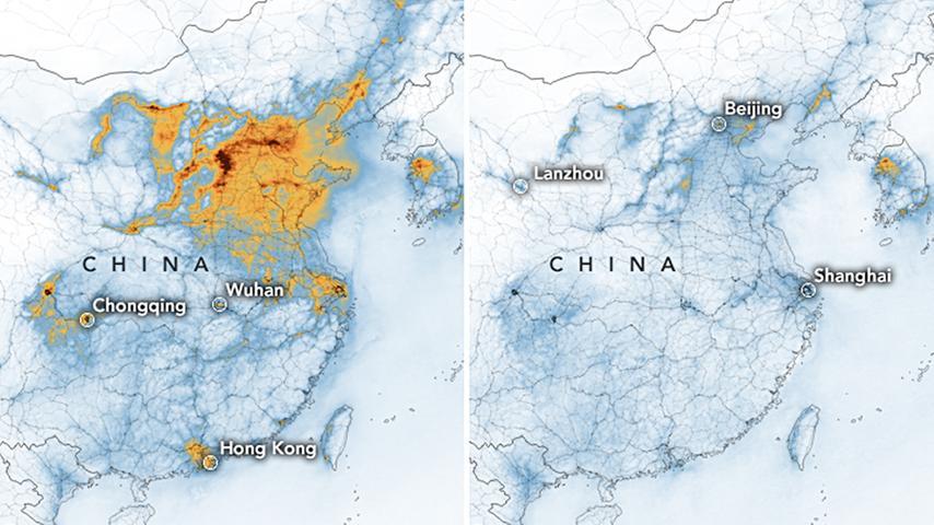 Die Konzentration von Stickstoffdioxid in der Luft ging in China im Vergleich von Januar und Februar deutlich zurück. Gelbe Gebiete weißen dabei einen hohen aus, blaue einen geringen Anteil an NO2 aus.