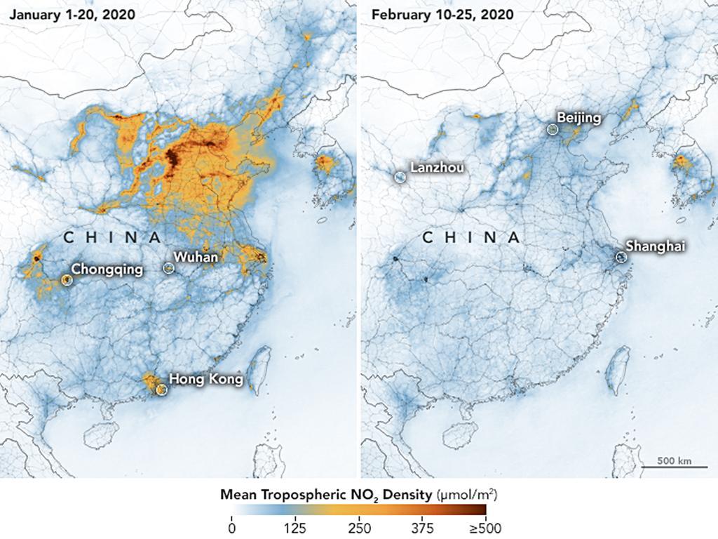 HANDOUT - 01.03.2020, China, ---: Die Karten zeigen die Konzentrationen von Stickstoffdioxid (NO2) in ganz China vom 1. bis 20. Januar 2020 (vor der Quarantäne wegen des Coronavirus) und vom 10. bis 25. Februar (während der Quarantäne). Die Daten wurden mit dem Troposphären-Überwachungsinstrument (TROPOMI) auf dem ESA-Satelliten Sentinel-5 gesammelt. Die Satelliten der NASA und der Europäischen Weltraumorganisation (ESA) zur Überwachung der Umweltverschmutzung haben einen signifikanten Rückgang des Stickstoffdioxids (NO2) über China festgestellt. (zu dpa