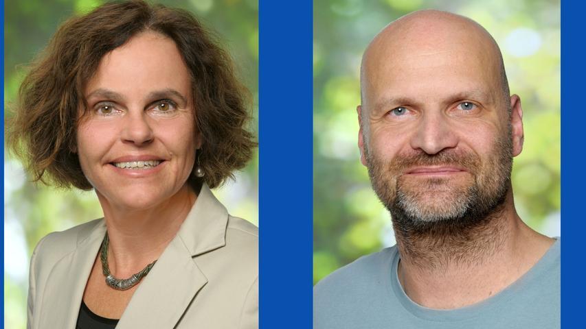 Birgit Marenbach, Bauingenieurin (Listenplatz 7, wiedergewählt)  und Marcus Bazant, kaufmännischer Angestellter (Listenplatz 2, wiedergewählt)
