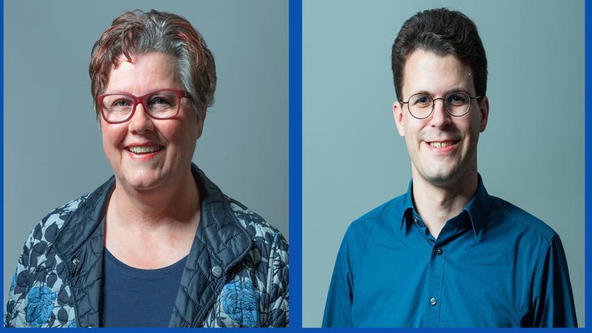 Gisela Niclas, Sozialarbeiterin (Listenplatz 12, wiedergewählt) und  Philipp Dees, Verwaltungsangestellter (Listenplatz 3, wiedergewählt)