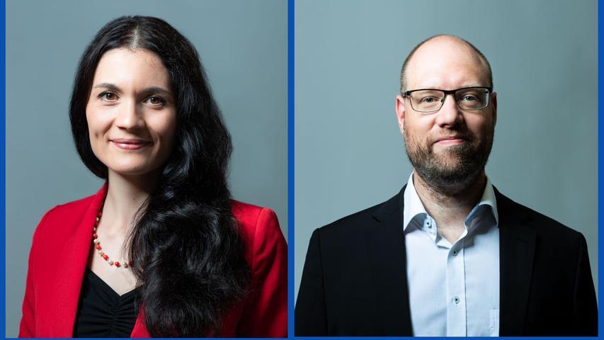 Valeria Fischer, Buchhändlerin (Listenplatz 6, neu) und Andreas Richter, Physiker (Listenplatz 9, wiedergewählt)