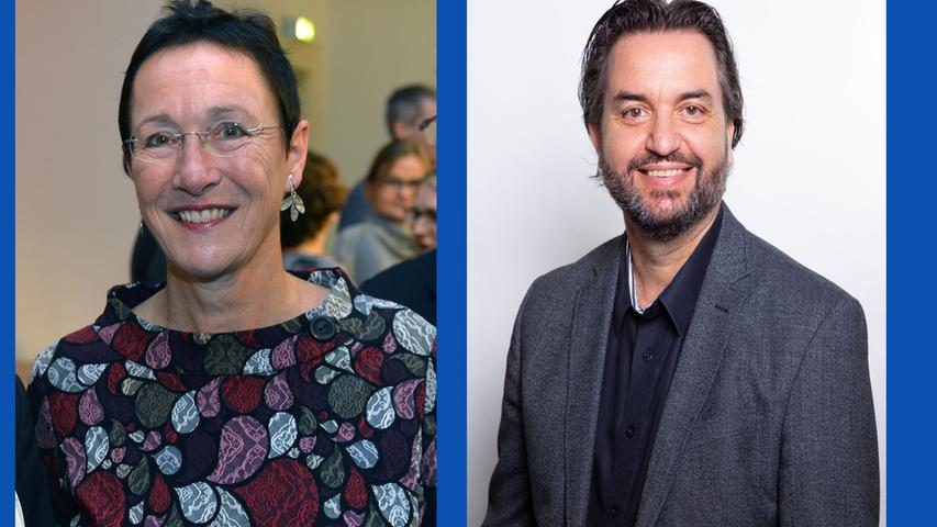 Elisabeth Preuß, Diplom-Biologin (Listenplatz 4, wiedergewählt) und  Holger Schulze, Universitätsprofessor (Listenplatz 1, neu)