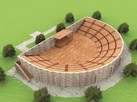 So könnte das szenische Theater in Theilenhofen ausgesehen haben: Die Wissenschaftler stellten Parallelen zu dem gallo-römischen Theater im belgischen Blicquy fest. Hier eine Rekonstruktion.