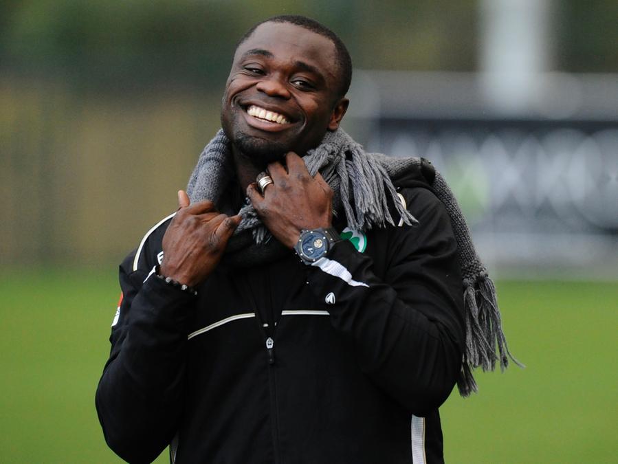 Gerald Asamoah hat auch in den schwierigen Zeiten mit der SpvGG Greuther Fürth seinen Humor nicht verloren.