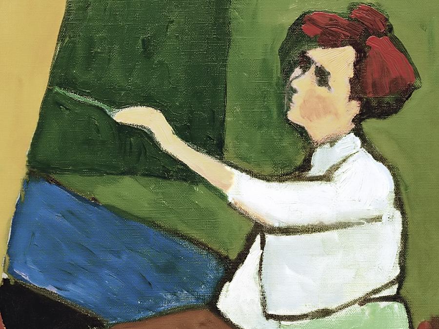 """Das Gemälde """"An der Staffelei"""" ziert den Einband des neuen Buches über die Malerin Gabriele Münter. <autor>Repro: Verlag"""