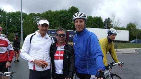 Streckentest bei ungemütlichem Wetter in Roth (von links): Lothar Leder, Jeffrey Norris und Matthias Reitenspieß.