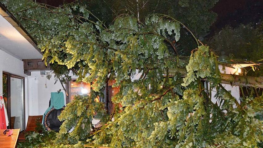 In Fürth stürzte am vergangenen Wochenende ein Baum auf ein Haus und durchschlug das Dach.