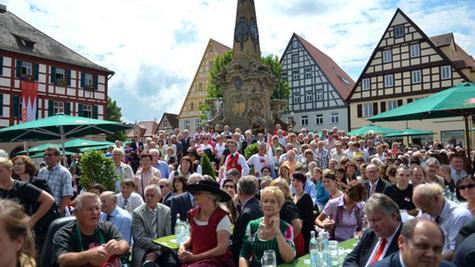 Seit 2006 zelebrieren die Franken ihren Feiertag, wie hier die Bürger von Schwabach auf dem städtischen Marktplatz (Archivbild.