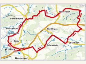 Unsere etwa zwölf Kilometer lange Rundwanderung führt uns durch zwei Landkreise und drei Gemeinden, und zwar: Von Virnsberg nach Sondernohe (beide Markt Flachslanden, Kreis Ansbach), weiter nach Wimmelbach (Markt Obernzenn, Kreis Neustadt/ Aisch), Fladengreuth und Obernbibert (beide Gemeinde Rügland, Kreis Ansbach), Schmalnbühl (Markt Flachslanden, Kreis Ansbach) und zurück zu unserem Parkplatz/Aussichtspunkt oberhalb von Virnsberg, der an der Staatsstraße 2245 liegt.