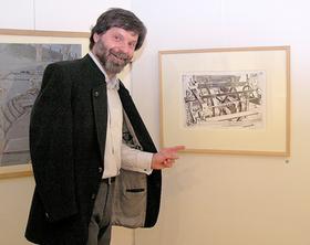 """""""Such dir selbst die Antwort!"""": Diego Bianconi in seiner Ausstellung im Felix-Müller-Museum in Neunkirchen am Brand."""