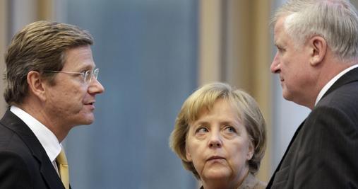 Kommen in der Einschätzung von US-Diplomaten nicht gut weg: FDP-Chef Westerwelle, CDU-Chefin Merkel, CSU-Chef Seehofer.