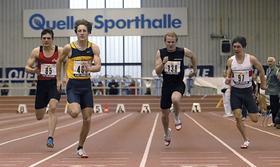 Sprinter wie Christian Blum (vorne) kann sich der LAC Quelle Fürth nicht mehr leisten. Die Halle am Finkenschlag aber vorerst schon noch, auch wenn sie gleichermaßen Aushängeschild wie finanzieller Klotz am Bein ist.