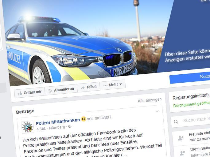 Über ihren neuen Facebook-Account will die Polizei MIttelfranken jetzt Bürger über ihre Einsätze auf dem Laufenden halten.