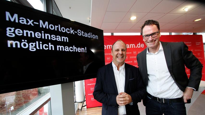 Bei der Vorstellung des Konzepts zur Realisierung des Max-Morlock-Stadions haben Nürnbergs Bürgermeister Christian Vogel (links) und Consors-CEO Kai Friedrich gut lachen.