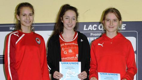 Drei LG-Athletinnen machten den Hochsprungwettbewerb in der Altersklasse U 18 unter sich aus: Anna Latzko, Leonie Polster und Magdalena Kuhn (von lionks).